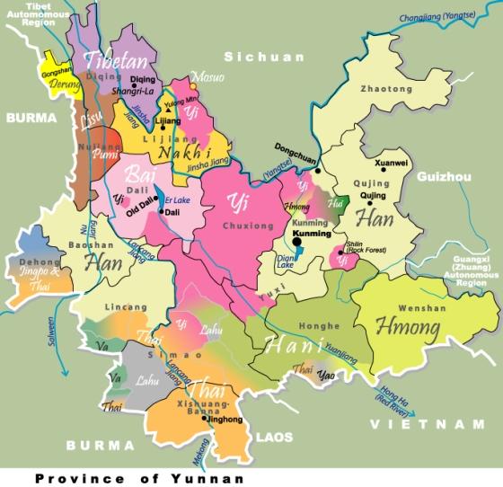 Carte ethnique du Yunnan