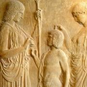 Démeter transmettant l'agriculture aux hommes, sous les yeux de Perséphone, Musée national archéologique d'Athènes.