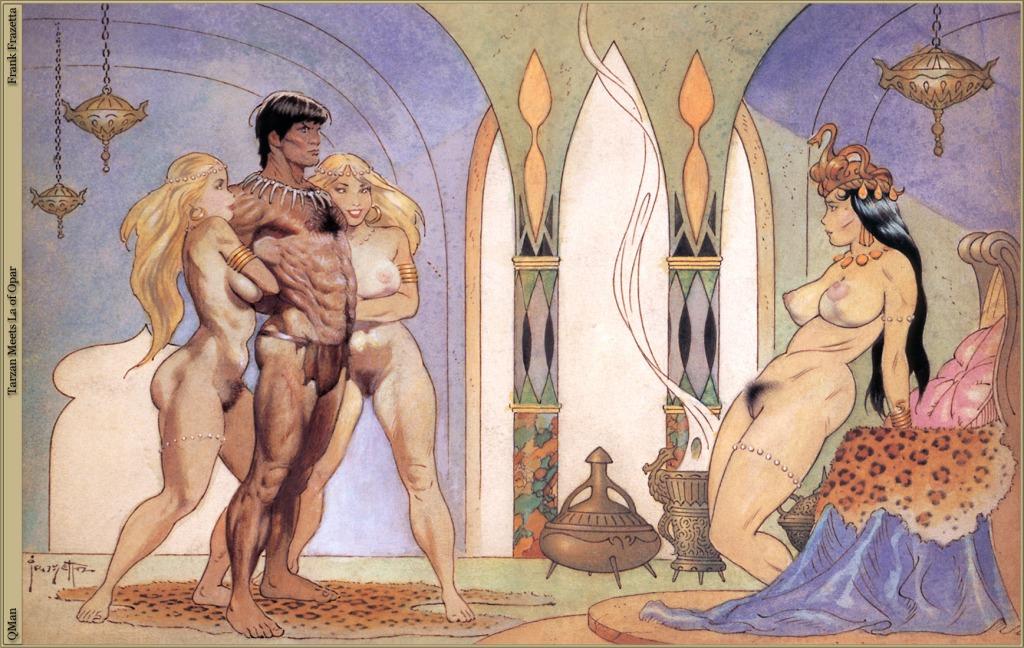 Tarzan offert à la reine d'Opar, par Franck Frazetta