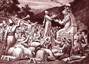 Sacrifice par le feu (Molk - Moloch) du premier né à Baal, dieu-père de Carthage (Tunisie)