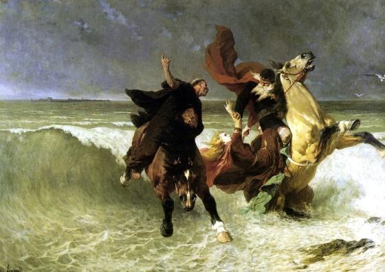 Dahut et son père sur le destrier magique Morvach, poursuivis par Saint Guénolé.