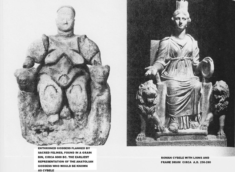 Matriarcat & Religions : des vestiges secrets au syncrétisme Cybele-enthroned-goddess-on-left-was-found-in-a-grain-bin-at-catal-huyuk-6000-bc