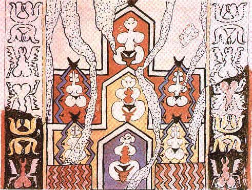 Reconstitution de peintures murales de Catal Huyuk, des femmes aux formes généreuses