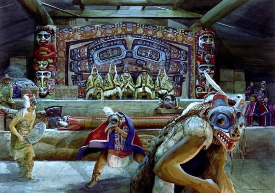 Cérémonie du Potlatch (dons rituels) dans une maison noble Tsimshian